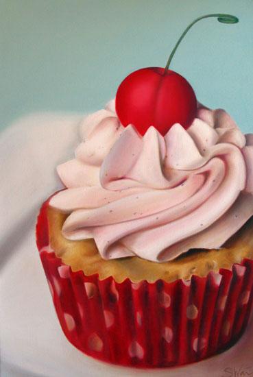 Cherry Filled Almond Cupcake