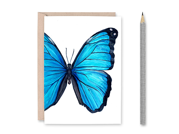 Blue Morpho Butterfly Blank Greeting Card