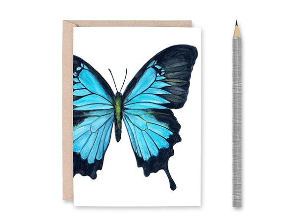 Blue Swallowtail Butterfly Blank Greeting Card