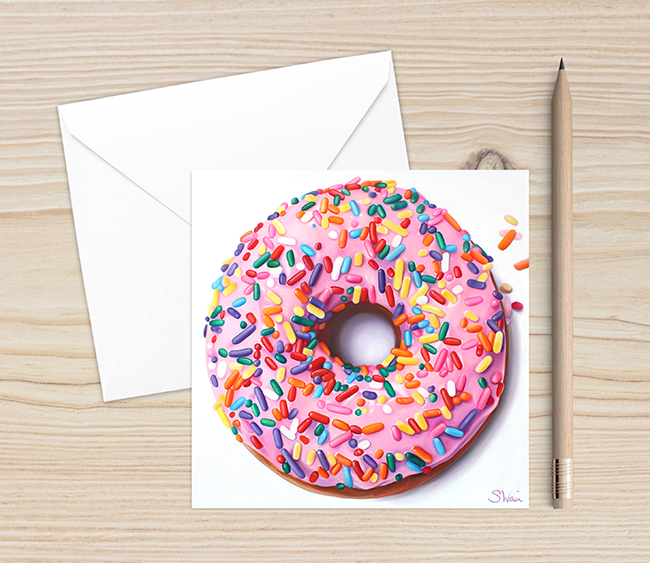 Pink Donut with Sprinkles Blank Greeting Card