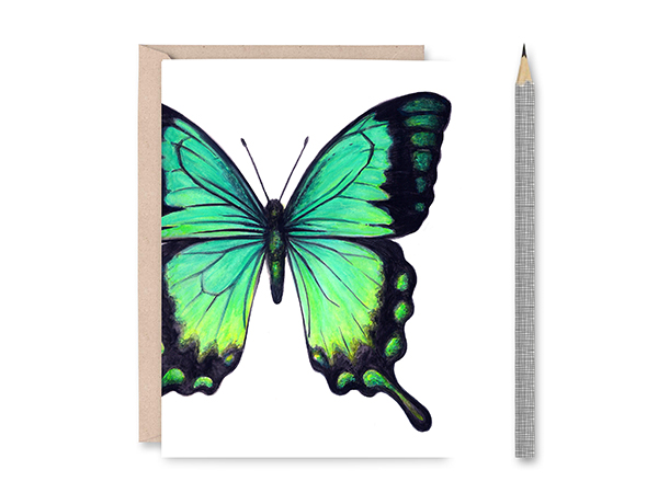 Sea Green Swallowtail Butterfly Blank Greeting Card