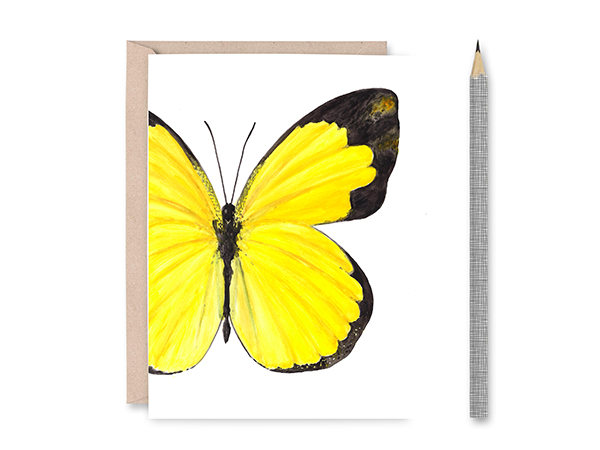 Small Grass Yellow Butterfly Blank Greeting Card